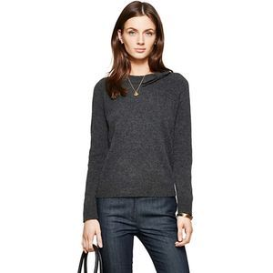 Kate Spade Tab Bow Sweater Leather Patches Gray S